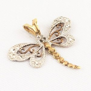 10kt Two Tone Gold Dragonfly Pendant